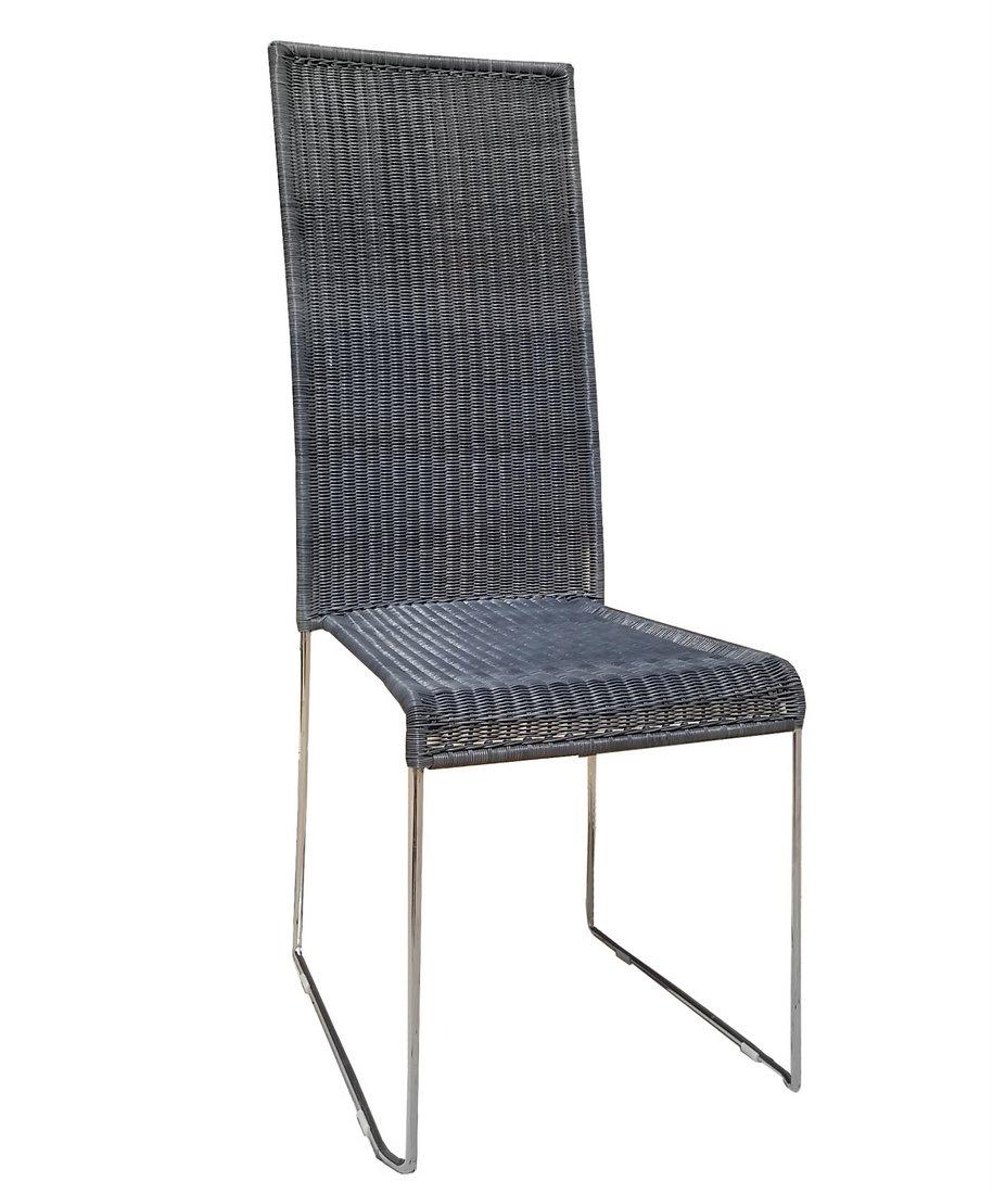 plo korbsessel polyrattan esszimmer stuhl loom optik grau ebay. Black Bedroom Furniture Sets. Home Design Ideas