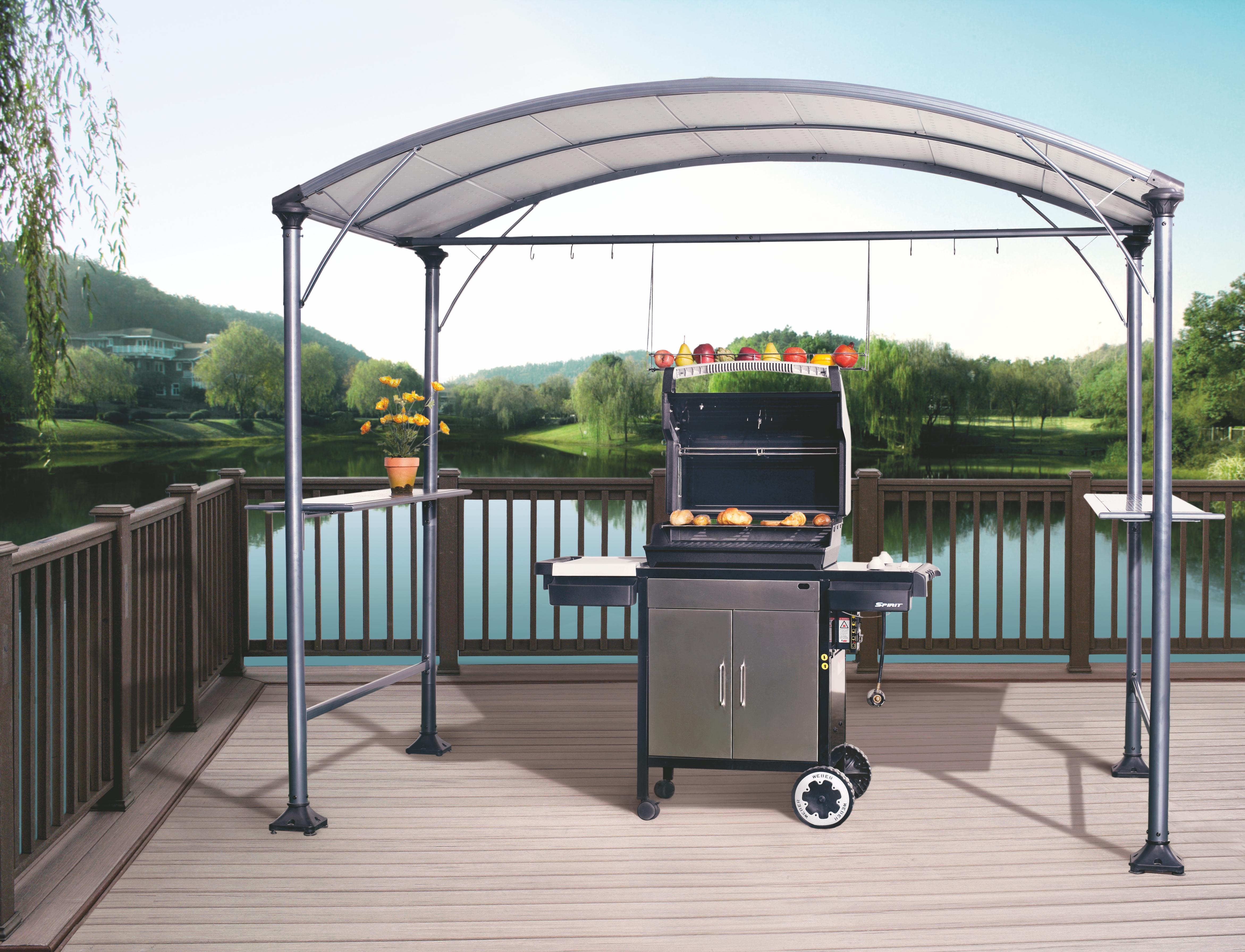 Osoltus grillpavillon grillzelt san diego 2 70 x 1 50m ebay for Grill pavillion