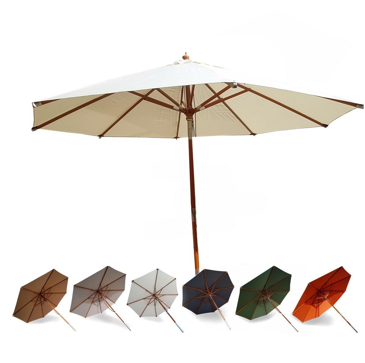 osoltus jakarta holzstockschirm sonnenschirm deluxe 3 5m rund ebay. Black Bedroom Furniture Sets. Home Design Ideas