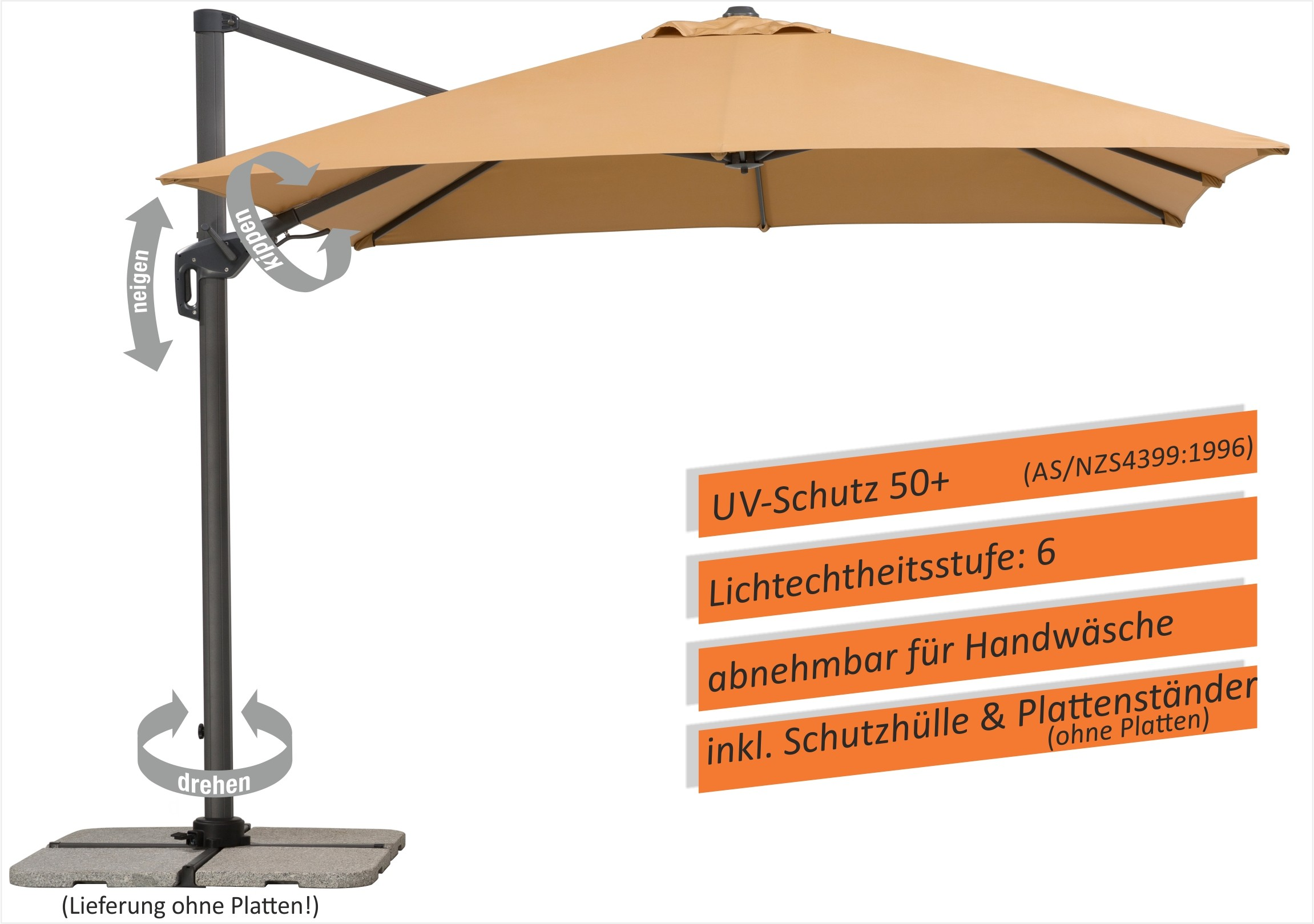 Schneider Ampelschirm Sonnenschirm Rhodos Twist 3 X 3m Sand