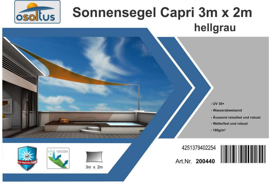 osoltus Sonnensegel Capri 3m x 2m hellgrau wasserabweisend