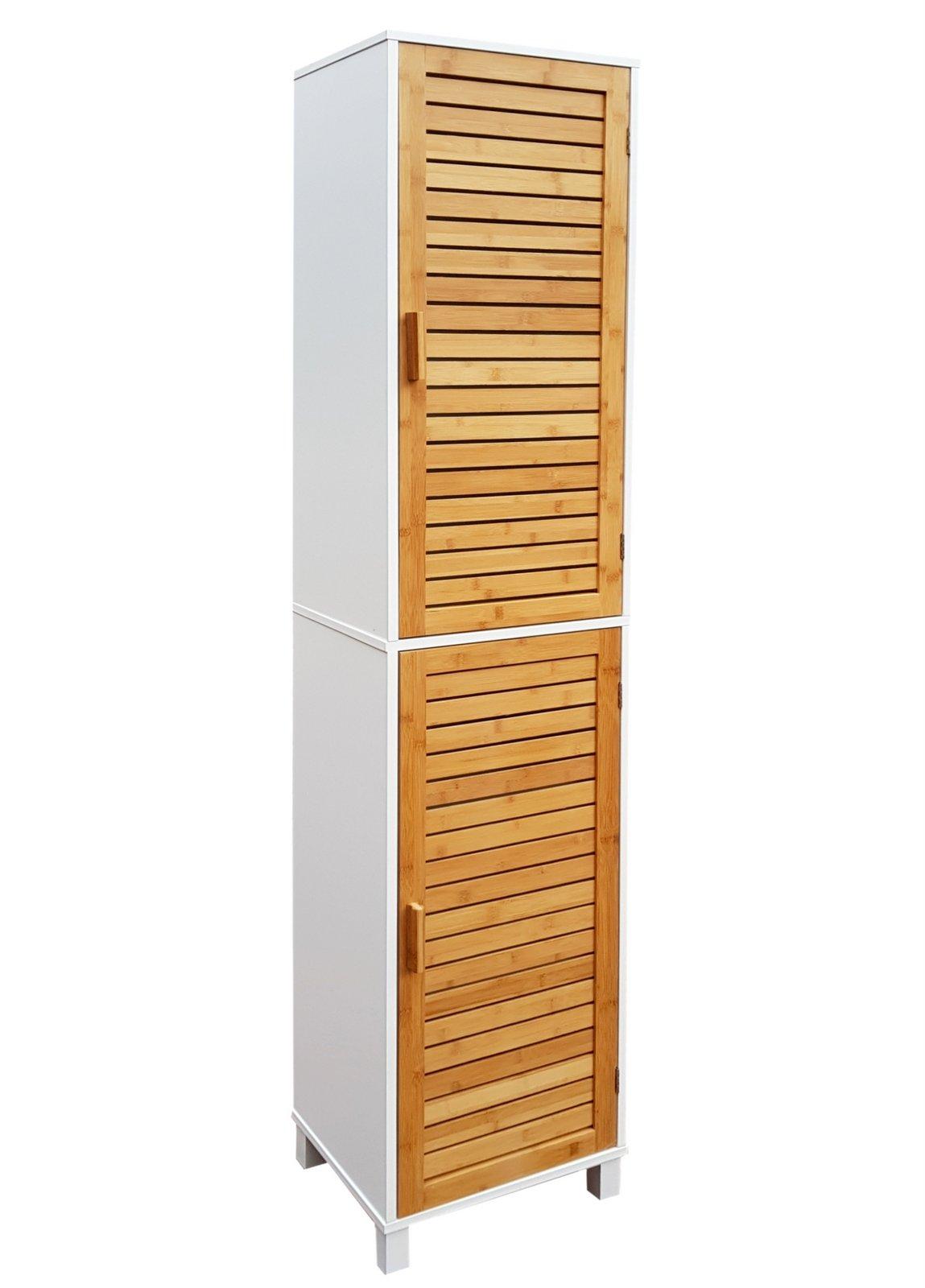 Badregal Bad Hochschrank 190cm Wandschrank Bambus Holz Weiss