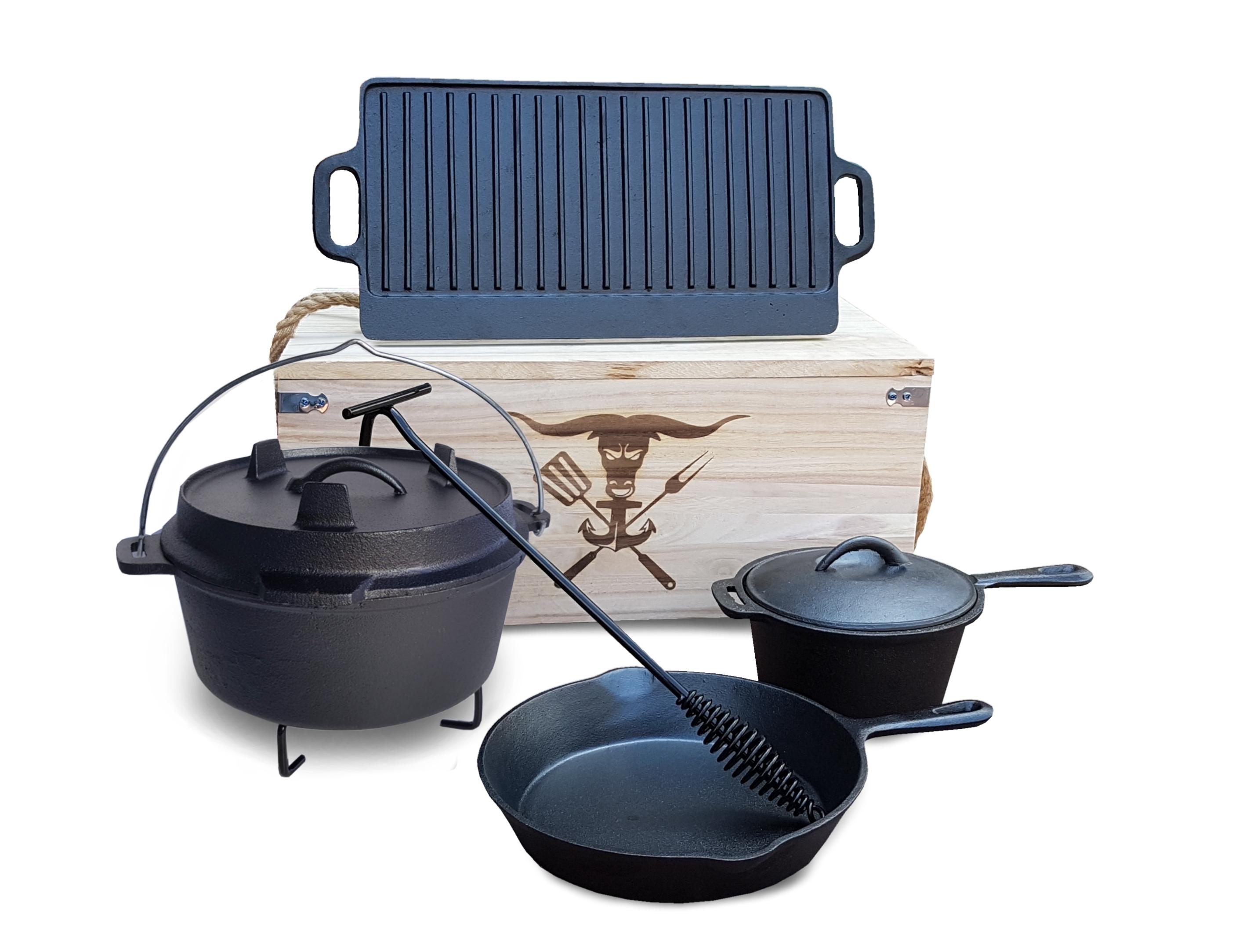 hausratplus dutch oven grill gusseisen 7 tlg set in geschenk holzkiste ebay. Black Bedroom Furniture Sets. Home Design Ideas
