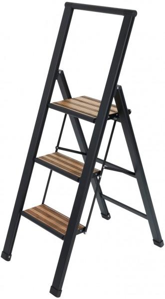 Wenko Alu Design Leiter Klapptrittleiter 3-stufig Sicherheits-Stehleiter schwarz
