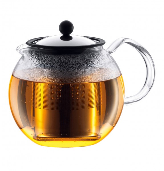 Bodum 1802-16B Assam Teebereiter Teekanne 1,5L Edelstahl Filter