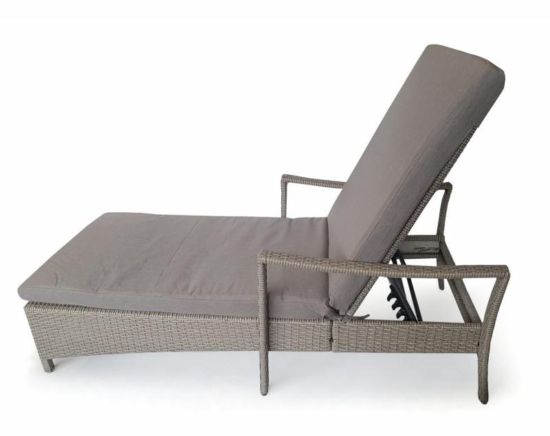 osoltus lounge gartenliege geflecht liege grau mit auflage. Black Bedroom Furniture Sets. Home Design Ideas
